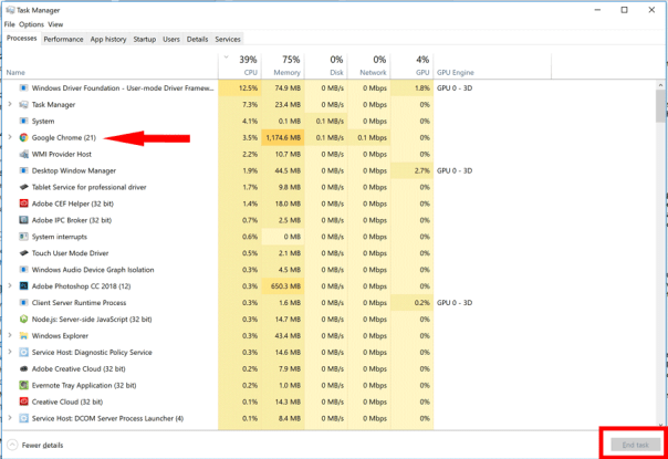 Windows Task Manager screen image