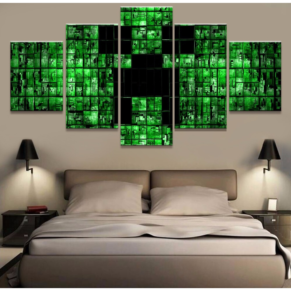 modern canvas painting hd printed wall art abstract pictures 5 pieces minecraft game poster living room home decor frameless