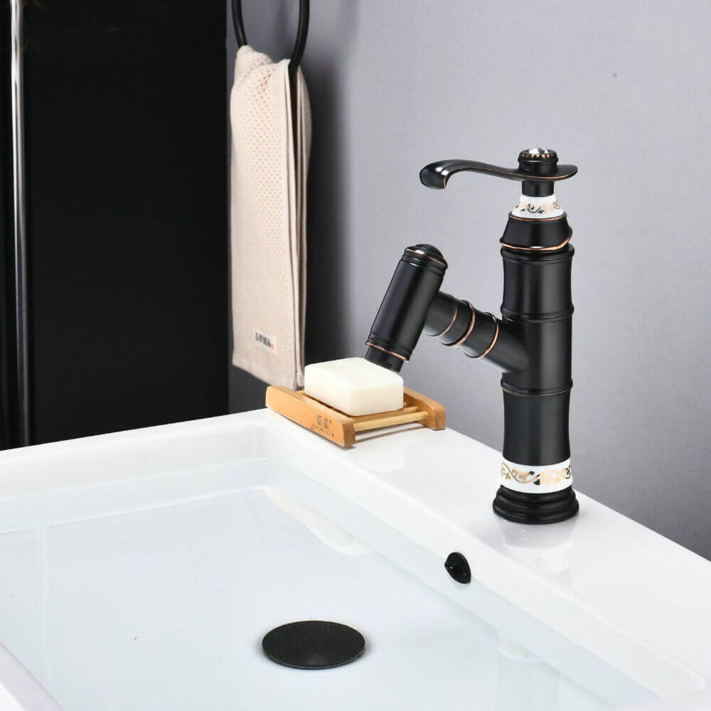 pull out bathroom basin mixer faucet single handle one hole deck mount lavatory tap