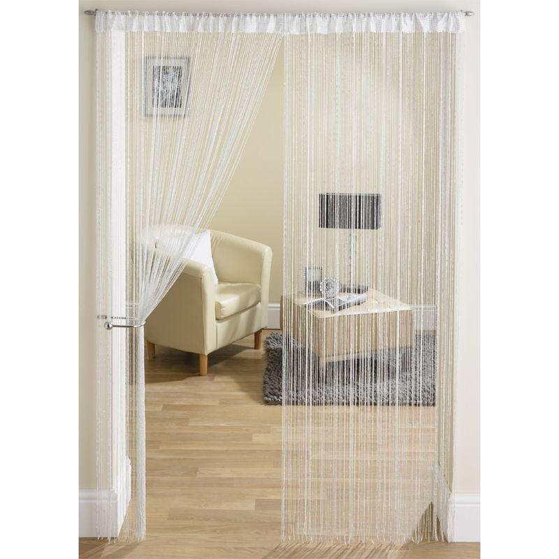 white silver string door curtain 90 x 200cm