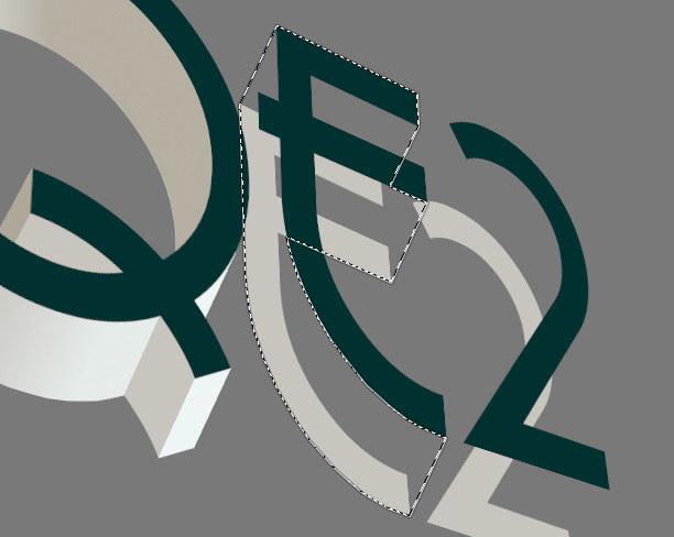 Creación de texto en 3D en GIMP. Seleccionar áreas con la herramienta Selección libre