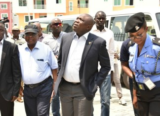 Lagos State Governor, Akinwunmi Ambode (2nd right), and others inspecting the site of the collapsed building in Lekki Gardens