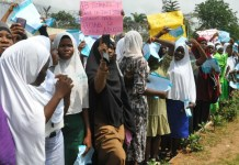 Lagos Muslim students protesting ban on hijab
