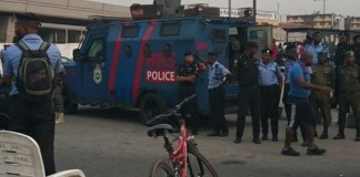 Police armoured tank deployed to National Stadium for protest