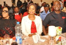 Wife of the Ogun State Governor, Olufunsho Amosun, flanked by Managing Director & CEO, Airtel Nigeria, Segun Ogunsanya, and his wife