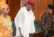 Vice President Yemi Osinbajo; Chief of Staff to the President, Mallam Abba Kyari, and the Head of Civil Service of the Federation, Mrs. Winifred Oyo-Ita, as Osinbajo presides over the Federal Executive Council Meeting at the Council Chambers on May 3, 2017 Photo: Novo Isioro