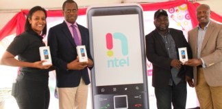 L-r : Jenika Mukoro, General Manager Brand Management, Kamar Abass, CEO, Jide Mafolobami, General Manager Products and Inusa Bello, Director Sales all of ntel at the public presentation of ntel's bespoke 4G/LTE Nova phone in Lagos