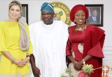 Queen Maxima of Netherlands Governor Akinwunmi Ambode of Lagos and wife Bolanle Ambode
