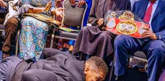 Anthony Joshua prostrates before Buhari in London