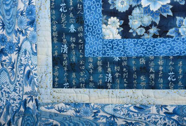 Detail of Blue and White Showcase Quilt © Susan Ball Faeder