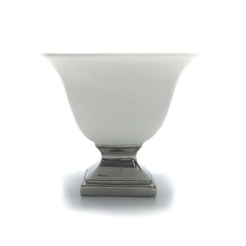 Vaso de Cerâmica Com Pé Prata W350-74