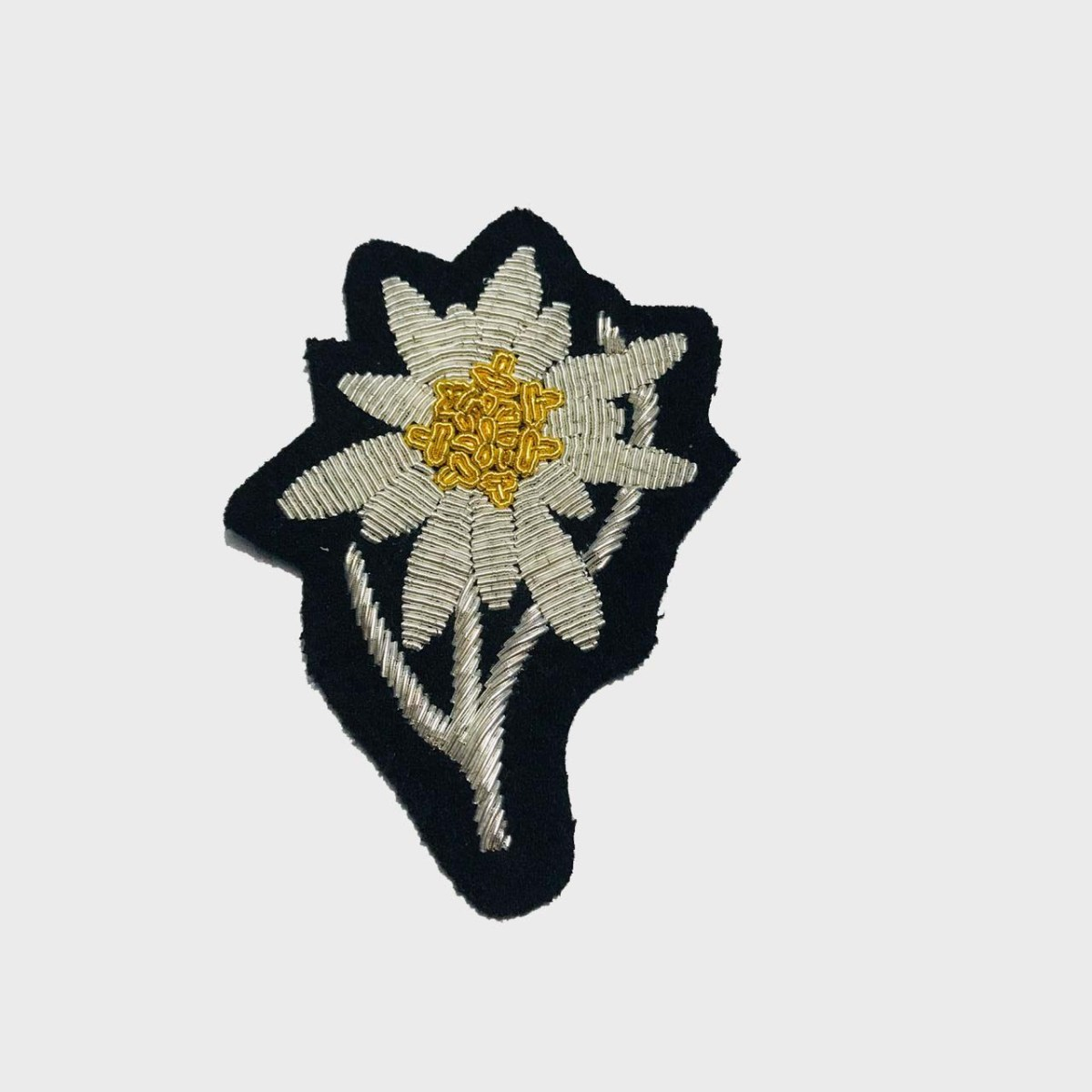 Edelweiss Flower Bullion Embroidered Badge , Sew-on Applique Patch - Edelweiss EmbroideredPatch Size # 3inches Sew-on backing Silverbullion wires embroidered on felt  5