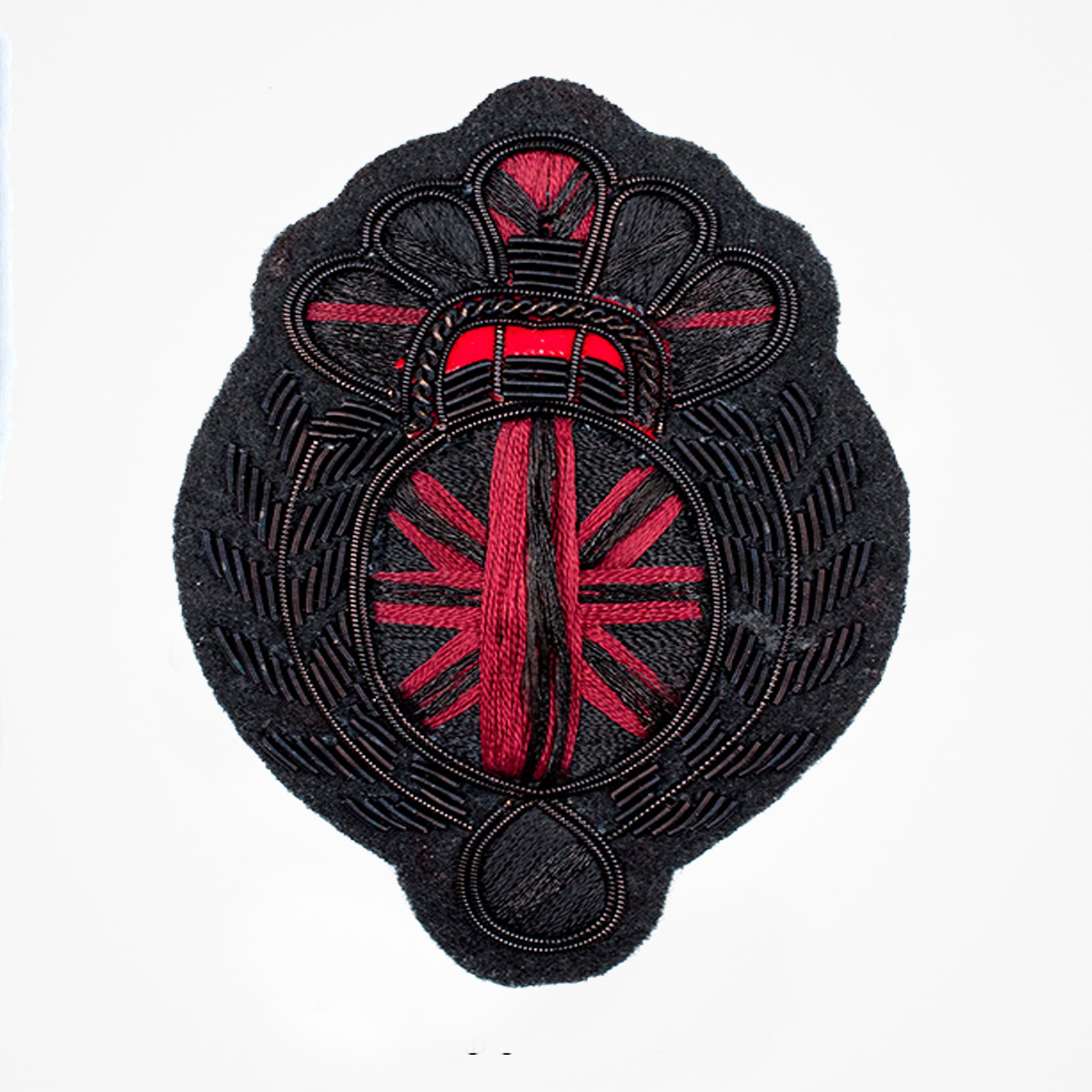 Qg - 3538 - Fashionable 3D embroidered look Made by skilled artisans Bullion wire and silk thread hand Stitched on Black color Felt Available in gold and silver colors Size = 90 mm height 63 mm width sewon backing: Perfect for caps, sports jacket, leather jackets, blazer coat, Blazer Pocket, shirts uniforms, Accessories and many More Pin backing: easy to removable 5