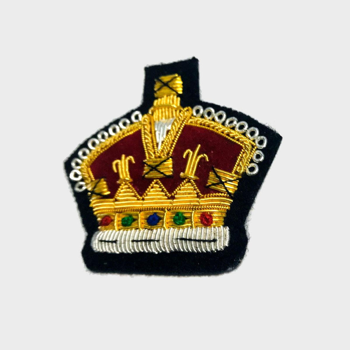 Royal Crown Bullion Embroidered Blazer Crest Patch - Fashionable 3D embroidered Royal Crown Crest Made by skilled artisans Bullion wire hand Stitched on Black colour Felt Size is approx 2x2 inches sew-on backing only 8