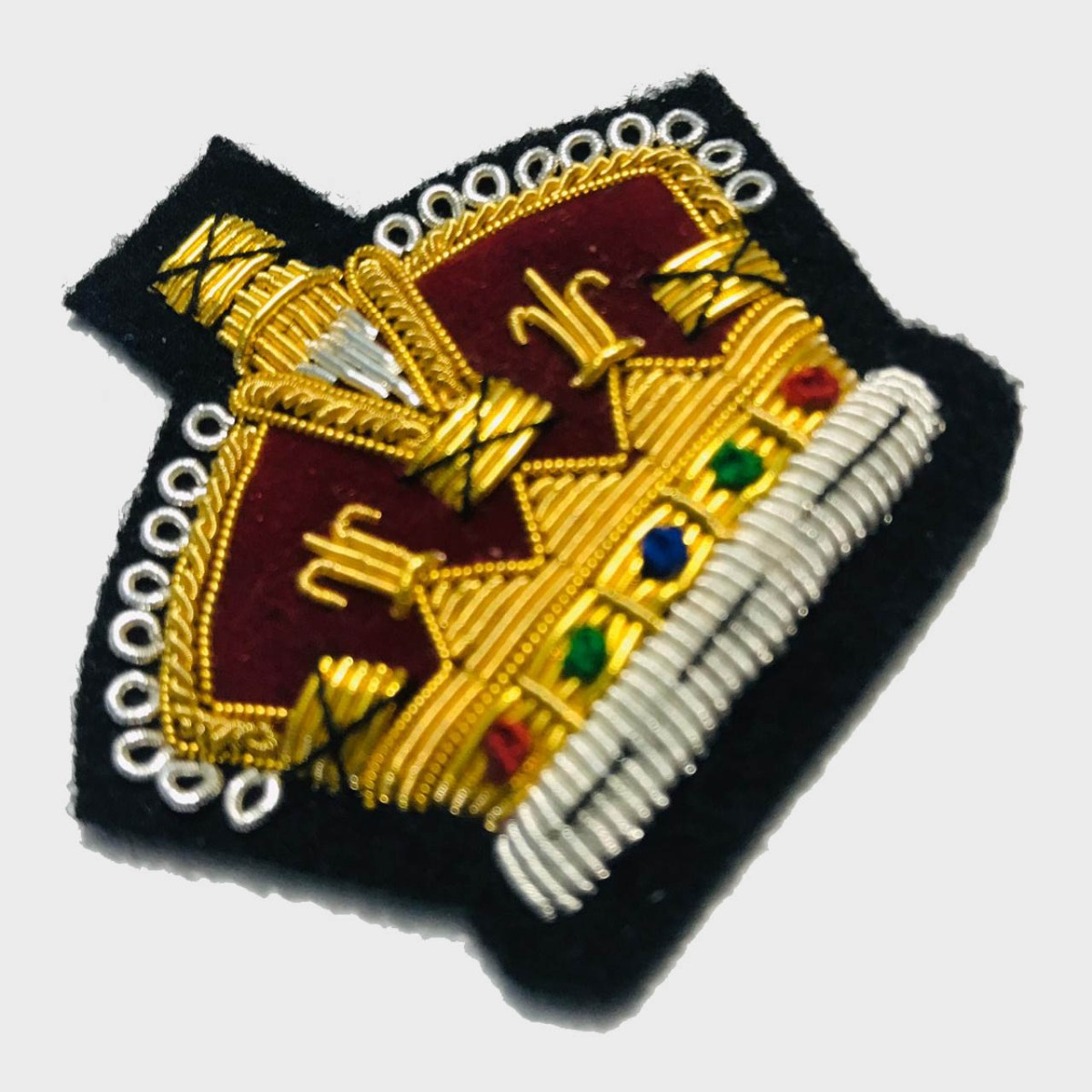 Royal Crown Bullion Embroidered Blazer Crest Patch - Fashionable 3D embroidered Royal Crown Crest Made by skilled artisans Bullion wire hand Stitched on Black colour Felt Size is approx 2x2 inches sew-on backing only 3