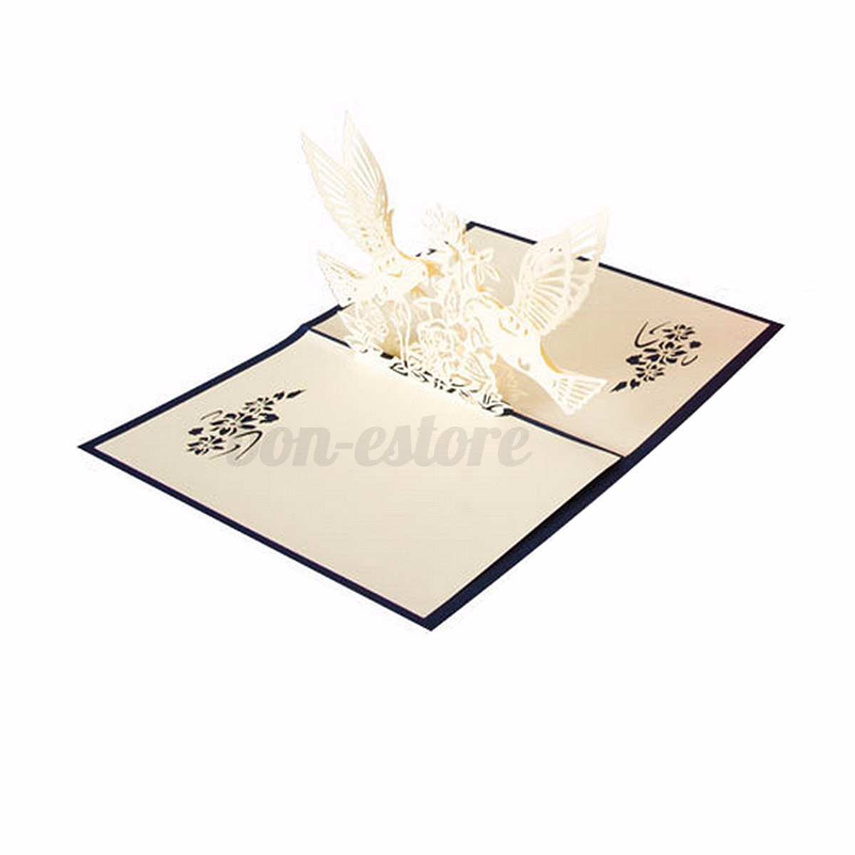 3D Pop Up Wedding Invitation Greeting Card Flower Happy
