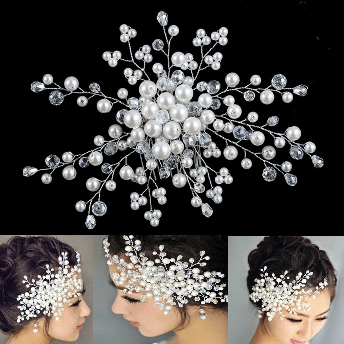 Fzeroinestore Bridal Wedding Party Prom Hair Comb Clip