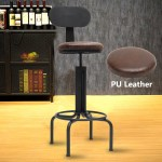 Adjustable Chair Leather Bar Stool Cafe Counter Chair Backrest 220lb Industrial Ebay