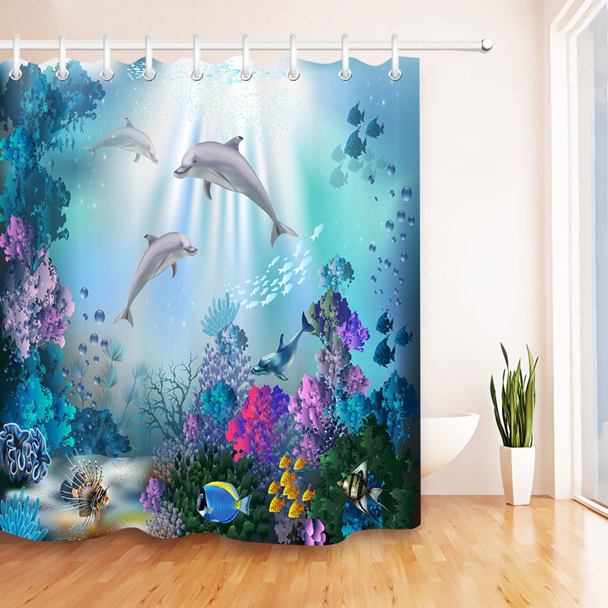 Details About Shower Curtain Waterproof Underwater World Dolphin Bathroom Mat Hook Home