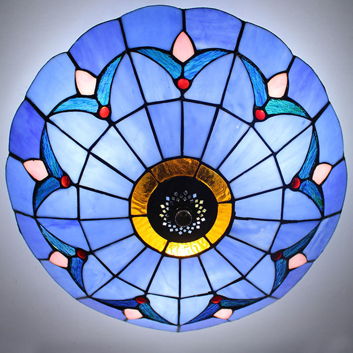 Style Stained Glass Flush Mount Ceiling Pendant Light