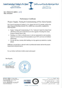Control Contracting & Trading Co. Pvt. (Qatar) Performance Certificate