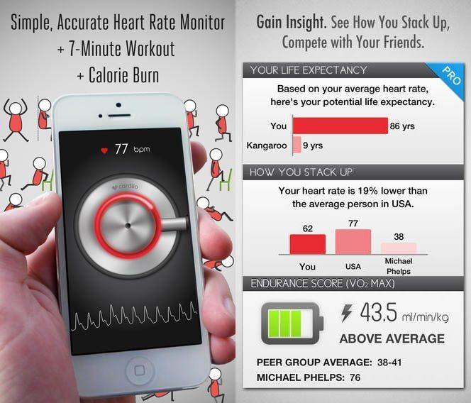 App para monitorear tu pulso en iPhone — cardiio para iOS