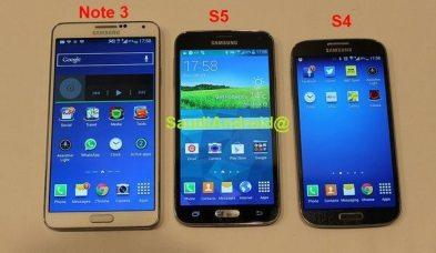 Samsung Galaxy S5 junto al Galaxy Note 3 y GS4