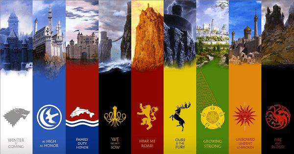 Westeros House sigils