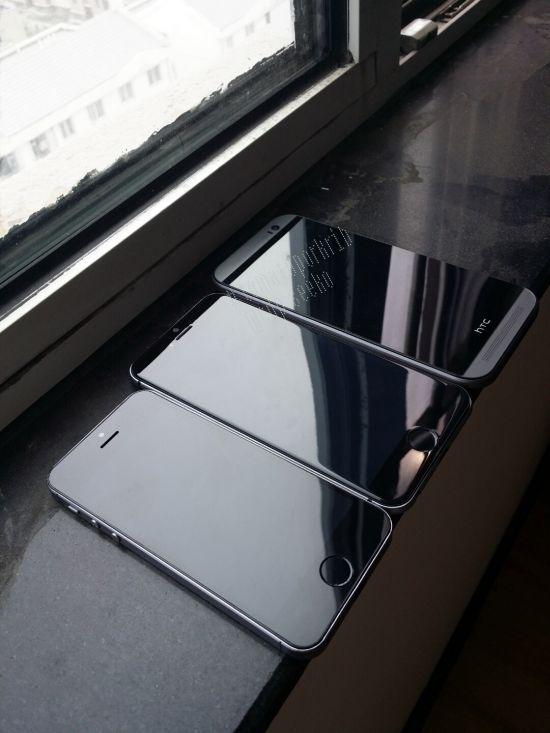 Mockup de el nuevo iPhone 6 junto iPhone 5s y HTC M8