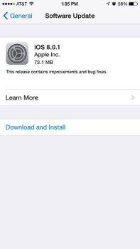 Actualización iOS 8.0.1