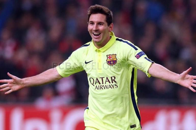 Lionel Messi con su gol 71 en la Champions League