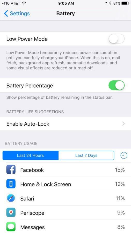 iOS 9 — Batería