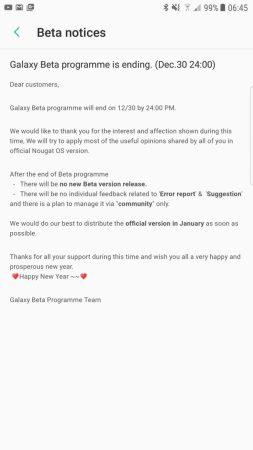 Beta Android 7.1.1 Nougat Galaxy S7 Samsung