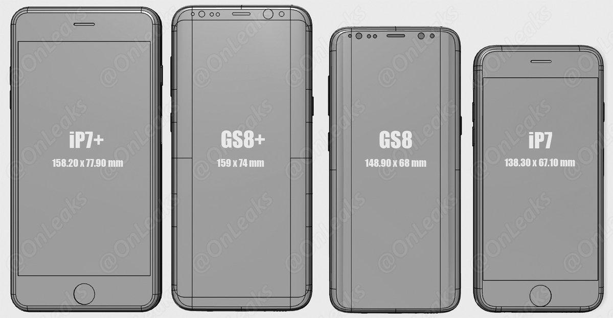 Comparativa tamaños Galaxy S8 vs iPhone 7