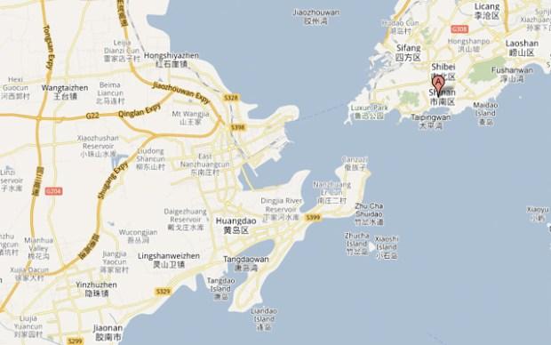 Map of Qingdao Huangdao Kaifaqu