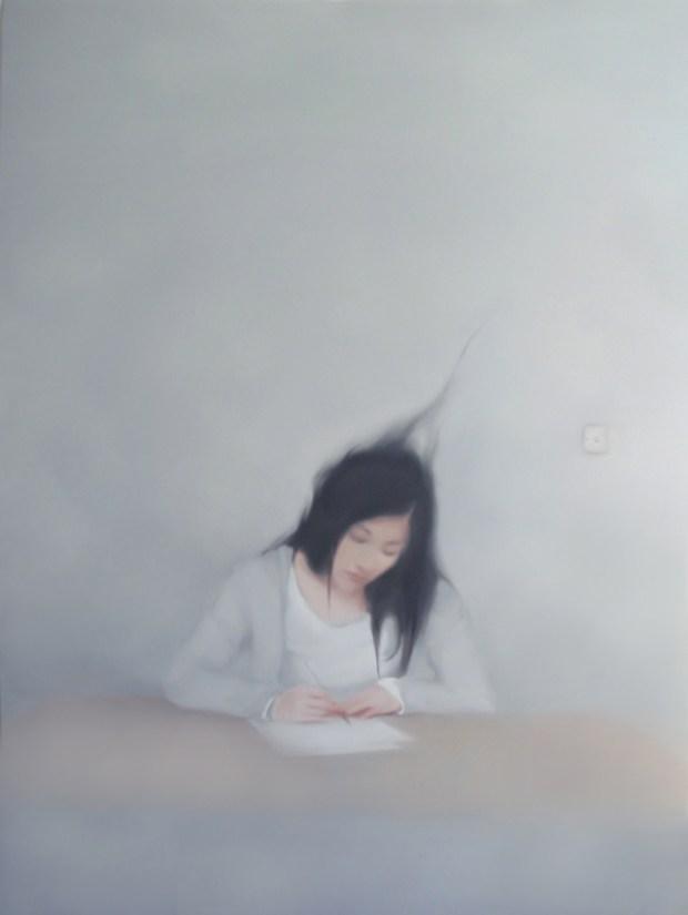 Qingdao Artist Lv Nan Painting Qingdao Girl Writing