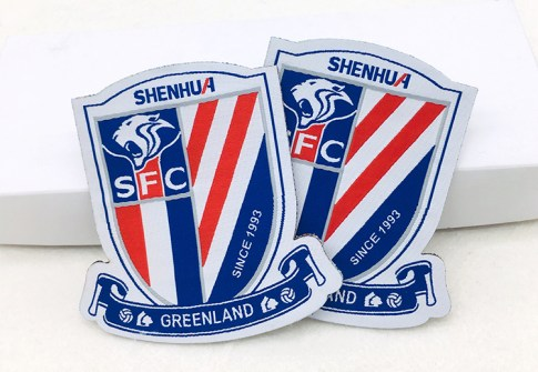Uniform Iron on Custom Soccer Team Name Logo Machine Woven Sport Fabric Patch and Badge for Clothing