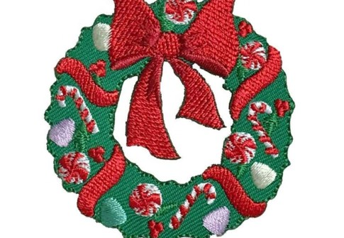 high quality stock green christmas tree embroidery patch for holiday gift decoration