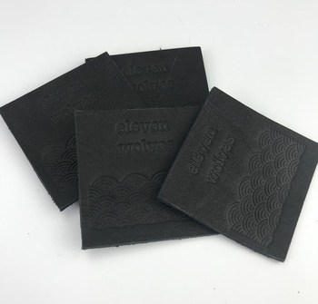 Black Metal Leather Labels Personalized Custom Debossed Brand Logo Real Leather Patches for Jeans
