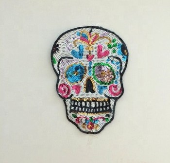 wholesale Skull embroidery patch Iron On Embroidery Patch for jacket, t shirts , bag ,demi sequin patch