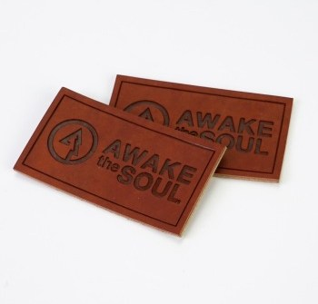 Embossed Custom high quality Printed PU Leather Labels with Logo for Garment