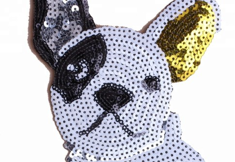 Custom iron on fashion dog sequin embroidery patches for clothing, clothing accessories