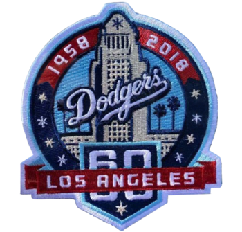 Custom Dodgers Iron On Back Embroidery Patches Cloth Background Baseball Patches Sew On Metallic Thread Patches