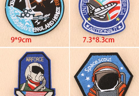 Round UFO Embroidered Iron on Air force diver Patches for Clothing DIY Motif Stripes Clothes Stickers Astronaut Badges