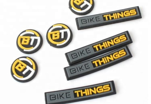 Small Stick on Custom 3D Embossed Name Logo Soft Rubber PVC Self Adhesive Sticker Patch for Clothing