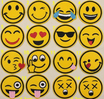 GUGUTREE embroidery smile face badges patches AL-205191