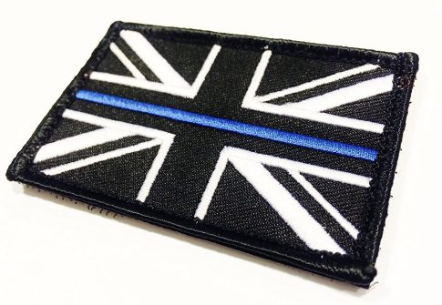 Thin Blue Line Union Jack Embroidered Hook Loop Backed Police Patches