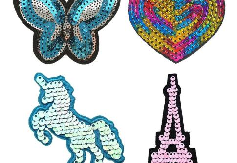 Popular private custom sequin shoe patch iron on