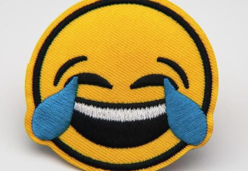 Laugh To Cry Embroidery Patches Iron On Custom Textile Embroidered Patches For Cloth