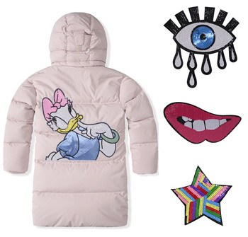 Cartoon Character Sequin Big Patch Latest Embroidered Customized Patches Down Jacket Sweater Bag Heat cut